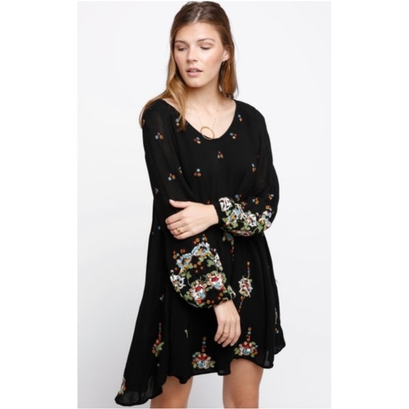 c6d7ea6cc7673 Free People Dresses | New Oxford Black Embroidered Dress | Poshmark